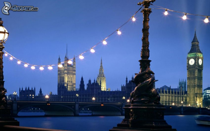 Palace of Westminster, London, Big Ben, Brücke, britisches Parlament