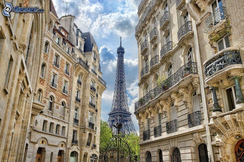 Paris, Eiffelturm, HDR, alte Häuser