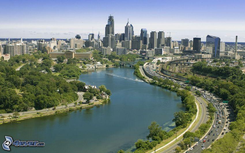 Philadelphia, Wolkenkratzer, Fluss, Autobahn