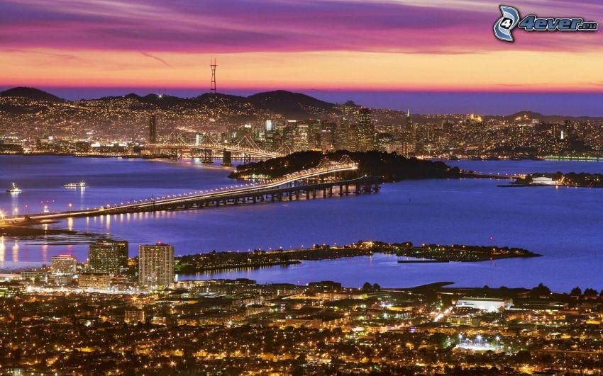 San Francisco, Bay Bridge, Nachtstadt