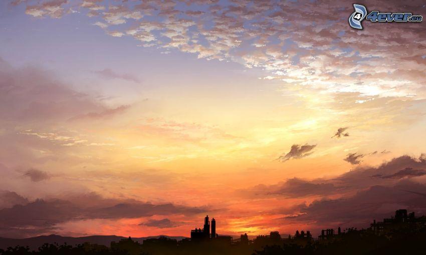 Silhouette der Stadt, Sonnenuntergang über der Stadt, Himmel