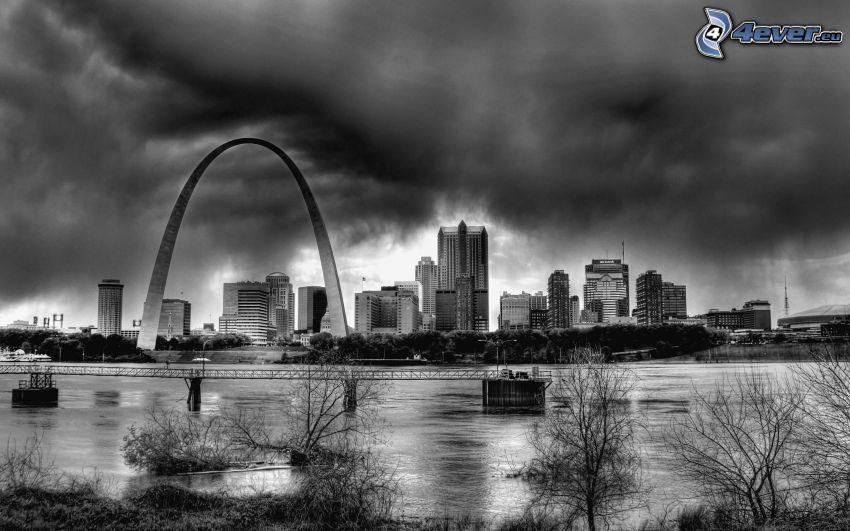 St. Louis, Gateway Arch, Schwarzweiß Foto