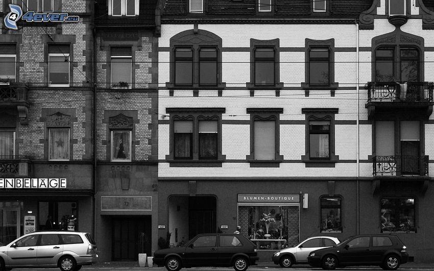 Straße, Häuser, Schwarzweiß Foto