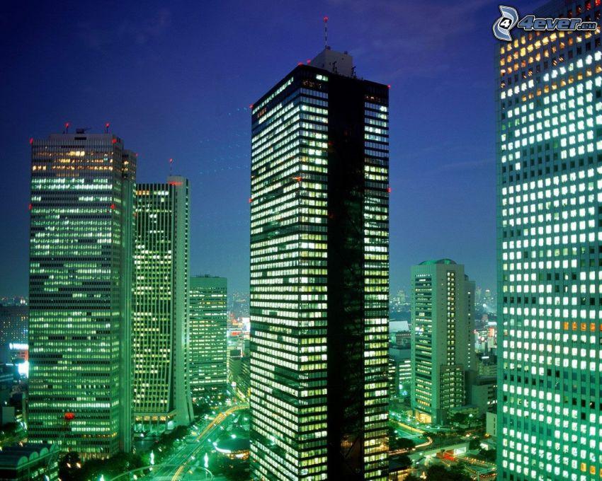 Tokio, Wolkenkratzer, City, Lichter, Stadt