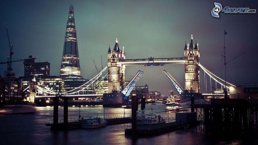 Tower Bridge, The Shard, London, Nachtstadt, Themse