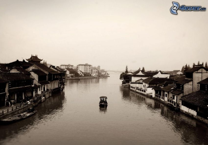 Venedig, Fluss, Häuser, Boot, schwarzweiß