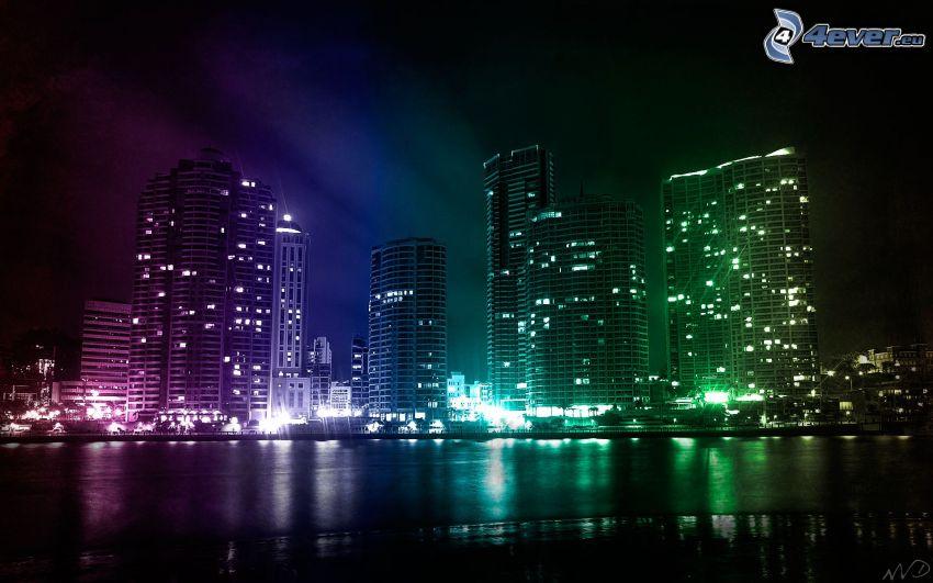Wolkenkratzer, Nacht, farbige Beleuchtung