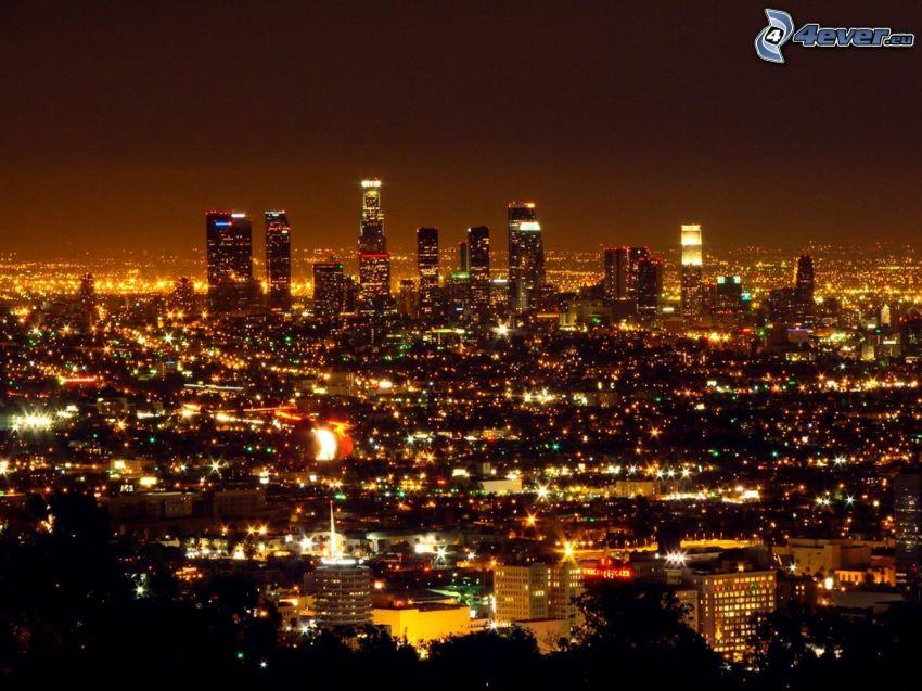 Zentrum von Los Angeles, Nachtstadt, Wolkenkratzer, Lichter