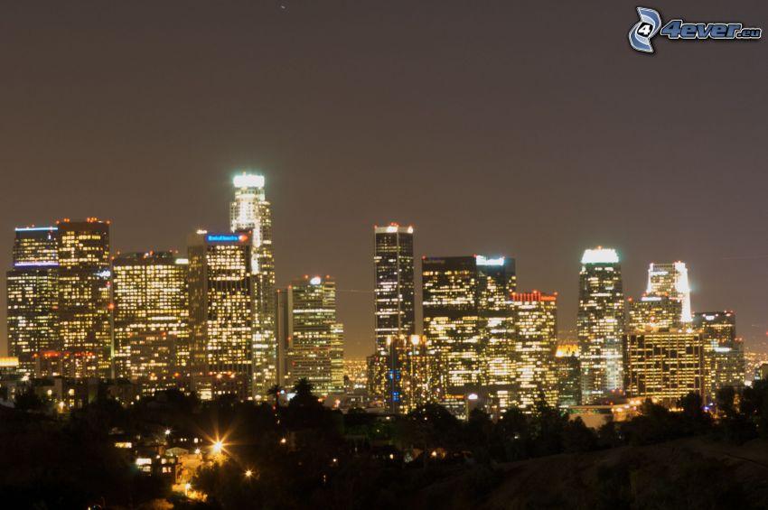 Zentrum von Los Angeles, Nachtstadt, Wolkenkratzer