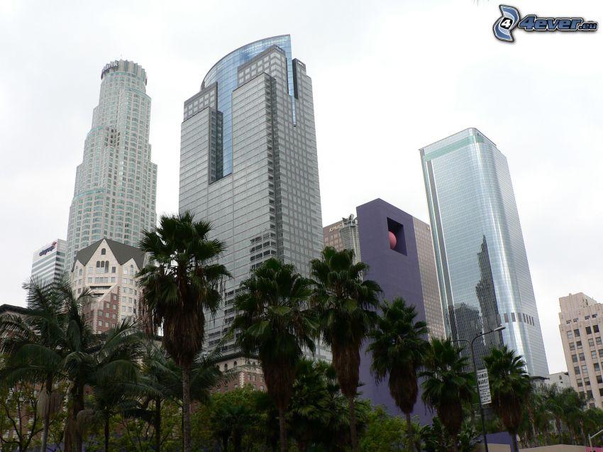 Zentrum von Los Angeles, Wolkenkratzer, Palmen