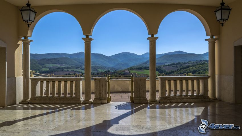 Terrasse, Aussicht auf die Landschaft, Hügel