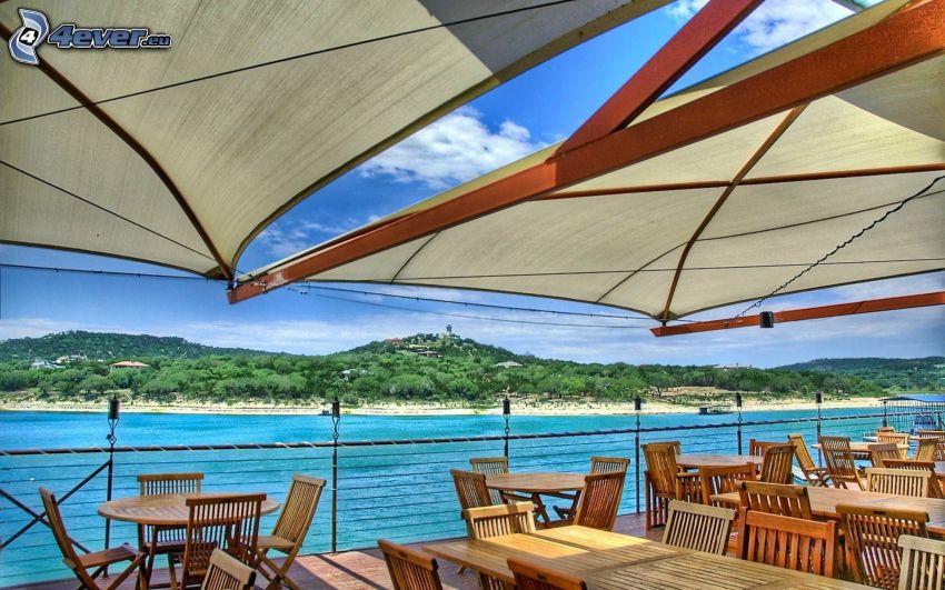Terrasse, Blick auf dem Meer, Stühle