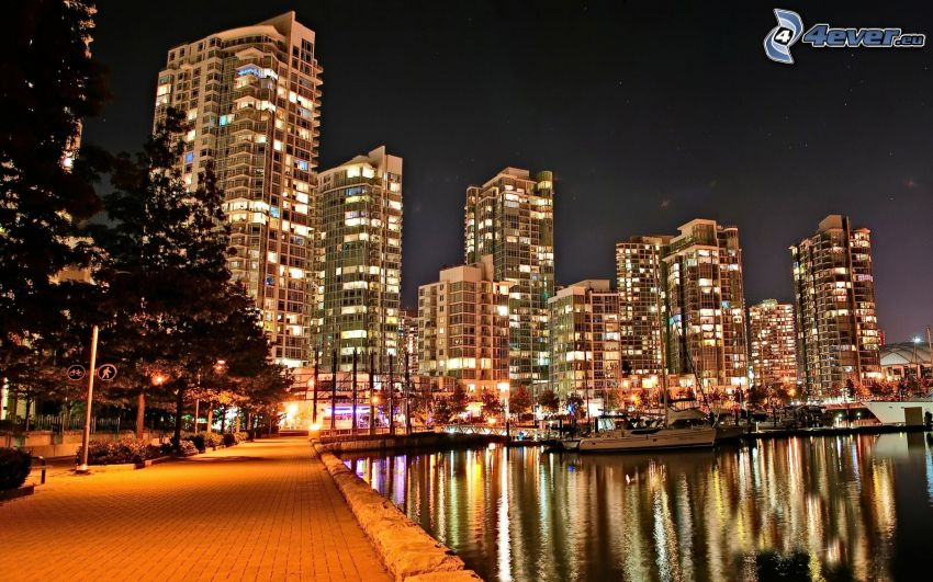 Vancouver, Gehäuse, Nacht, Fluss, Boote, HDR