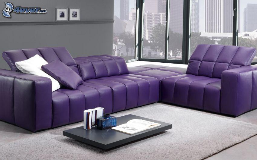 Wohnzimmer, Sofa, lila