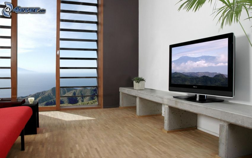 Wohnzimmer, TV, Aussicht auf die Landschaft