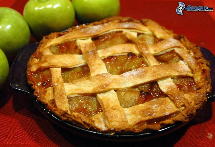 Apfelkuchen, grüne Äpfeln