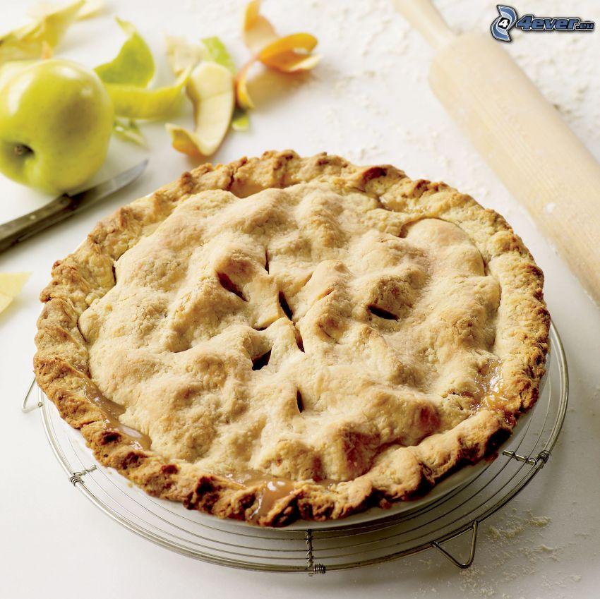 Apfelkuchen, grüner Apfel, Messer