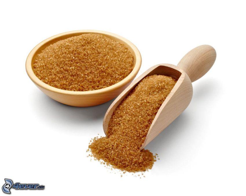 brauner Zucker, Schöpflöffel, Schüssel