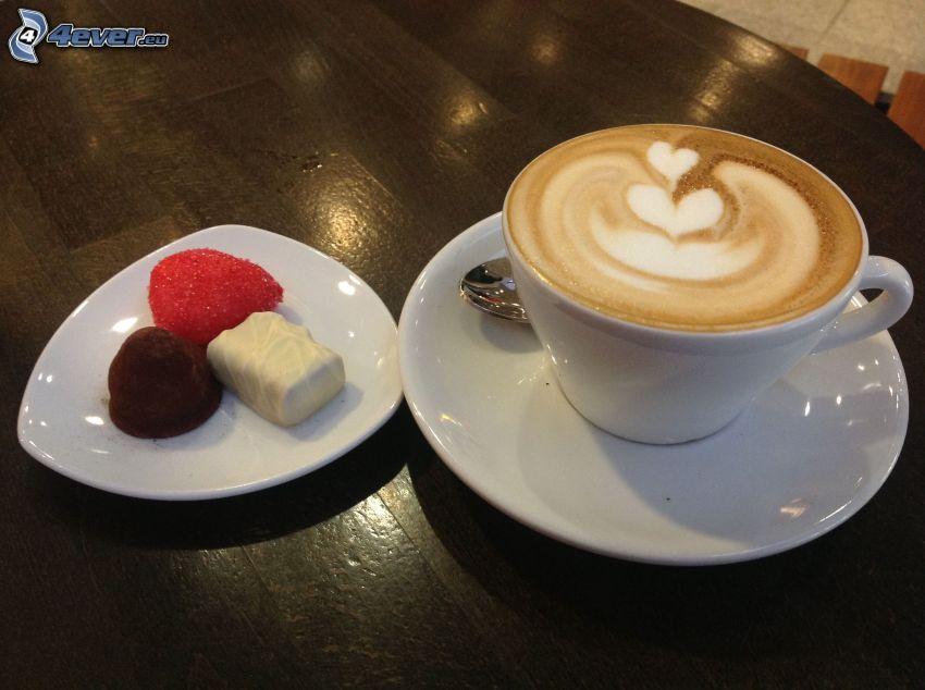 Cappuccino, Schaum, Bonbons