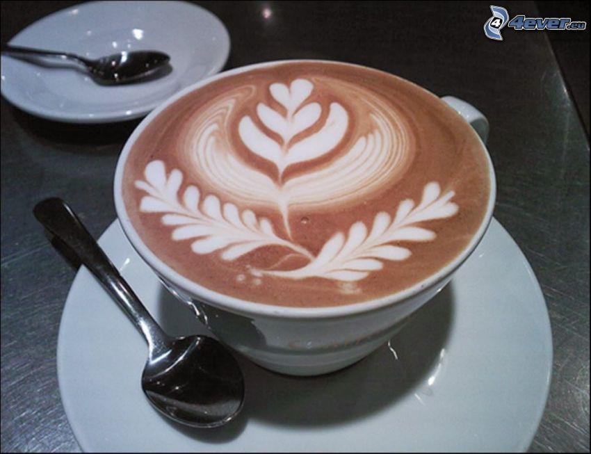 Cappuccino, Schaum, Löffel