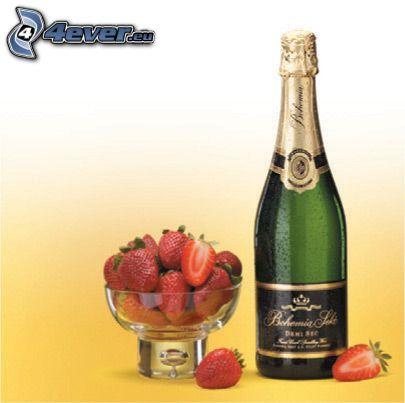 Champagner, Erdbeerbecher