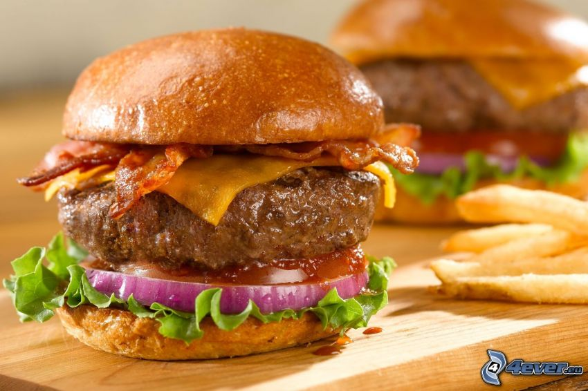 cheese burger, Pommes frites
