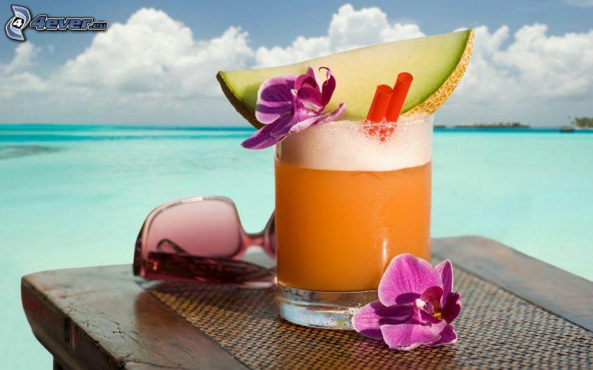 Cocktail, Sonnenbrille, Orchideen, Meer