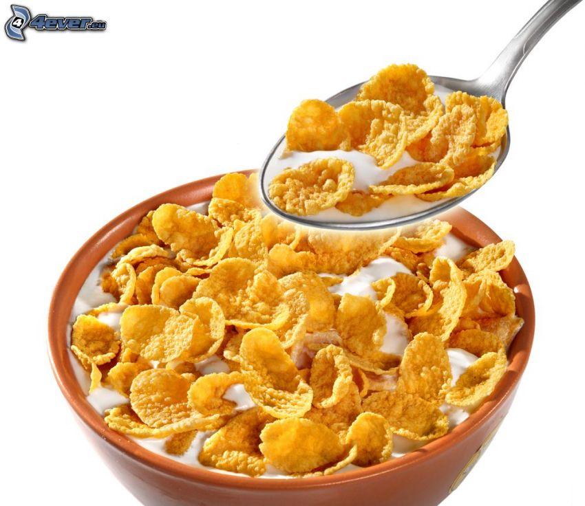 Cornflakes, Milch, Schüssel, Löffel, Frühstück