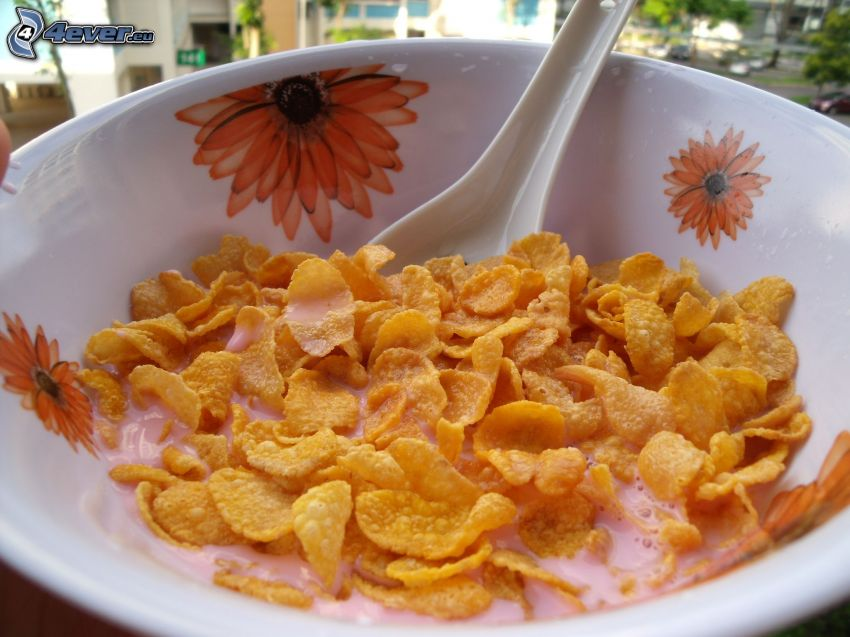 Cornflakes, Schüssel, Löffel, Frühstück