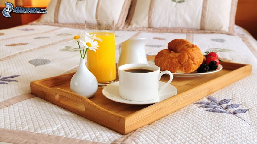 Frühstück, Kaffee, Croissants