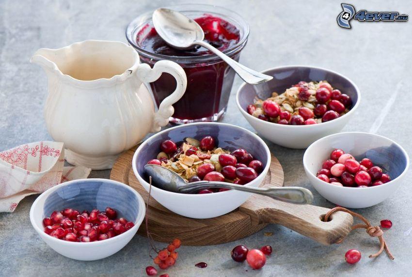 Frühstück, Müsli, Granatapfel, Marmelade