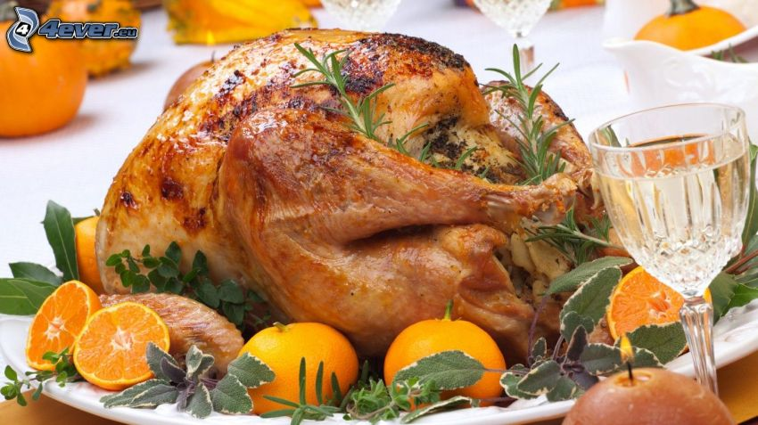 gebratenes Huhn, Mandarinen, Tasse