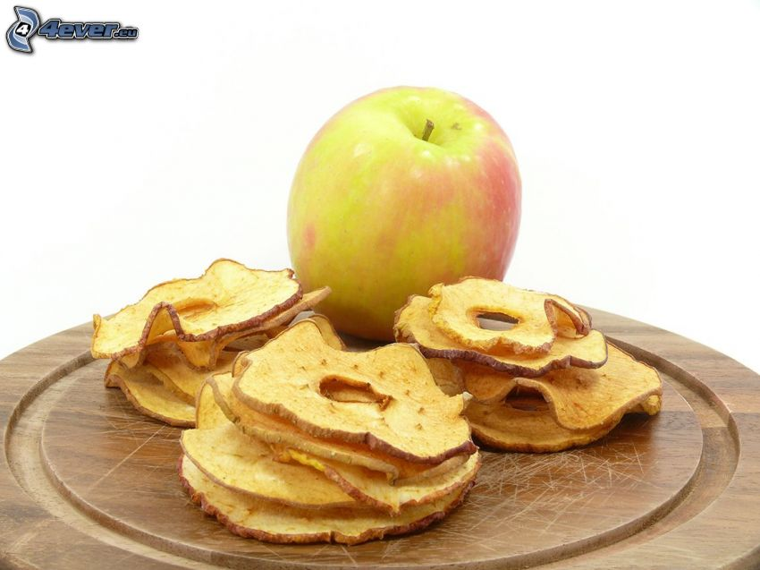 getrocknete Äpfel, grüner Apfel