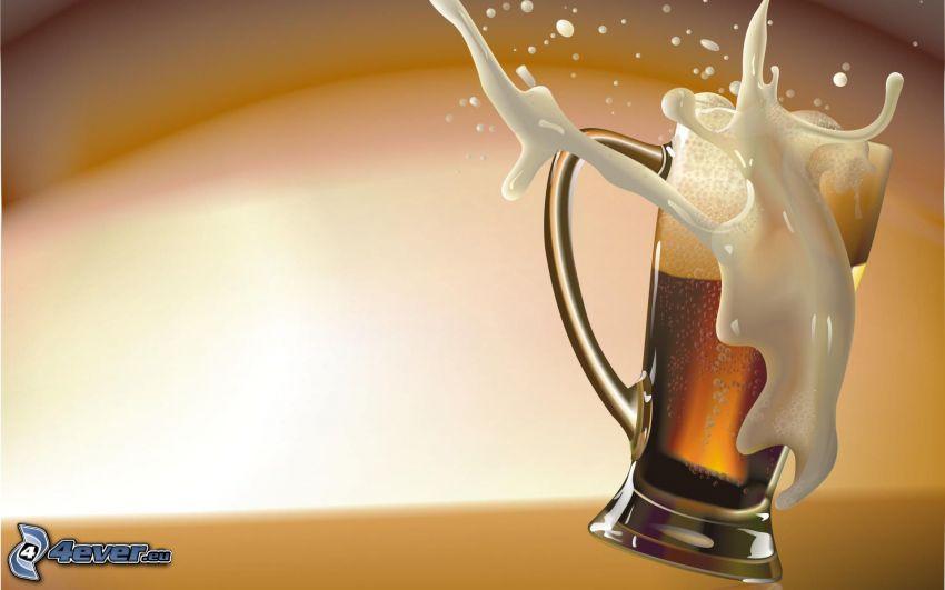 Glas Bier, splash