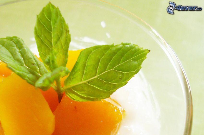 Mangos, Minze Blätter