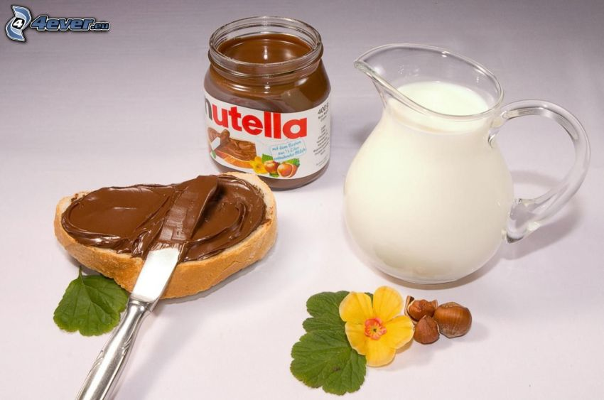 nutella, Brot, Milch