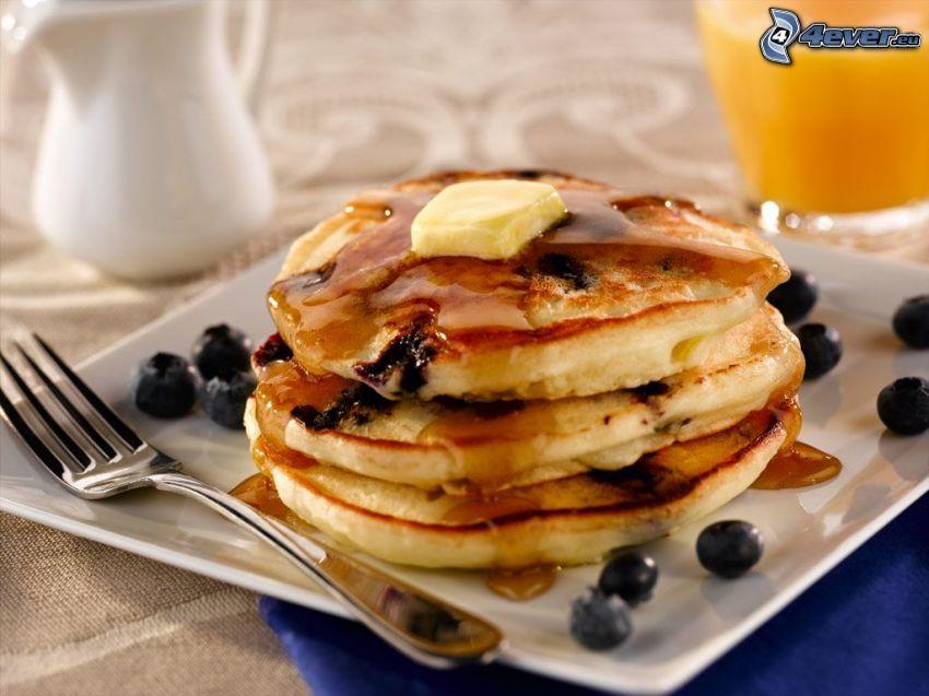 Pfannkuchen, Blaubeeren, Gabel