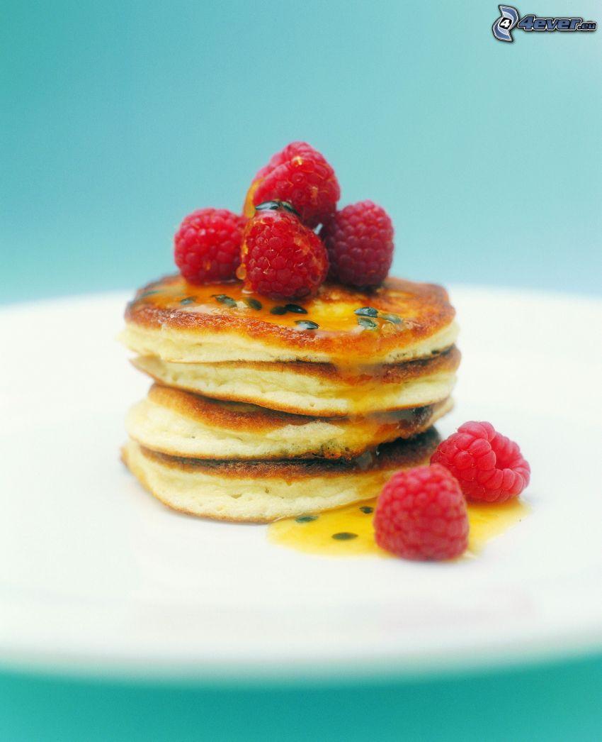 Pfannkuchen, Himbeeren