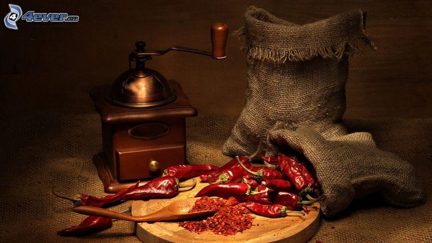 rote Chilischoten, Kaffeemühle