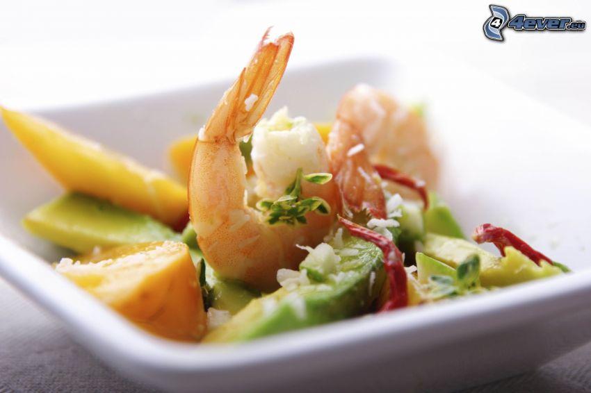 Salat, Krevetten