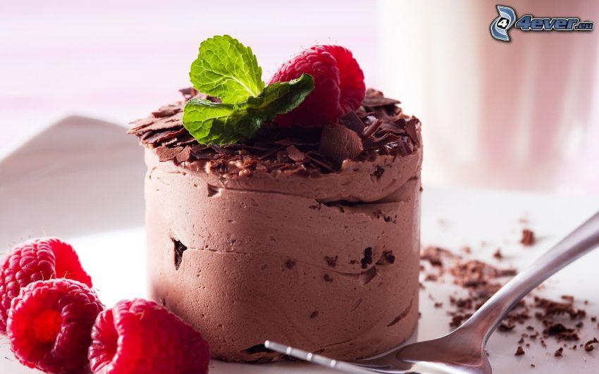 Schokoladenkuchen, Himbeeren, Minze, Gabel