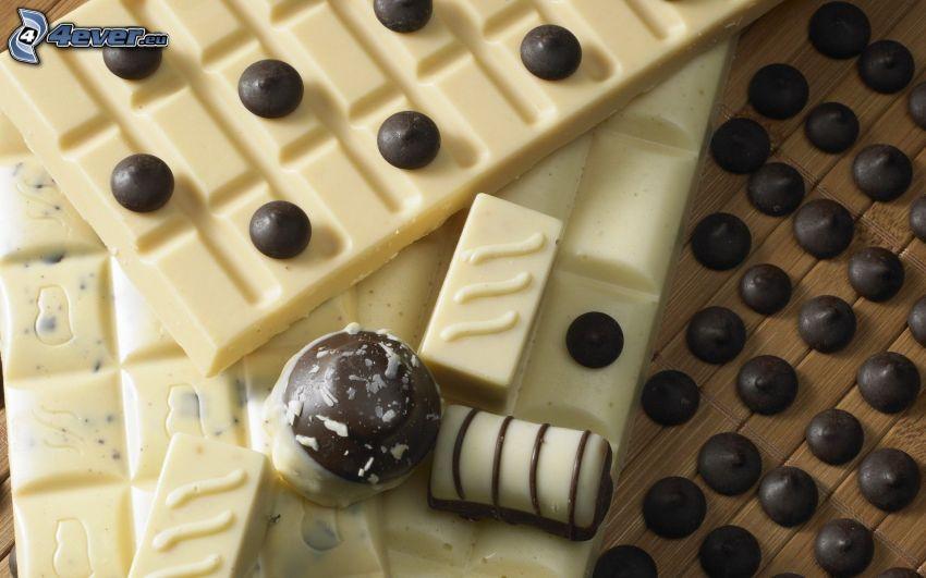 Schwarze und weiße Schokolade