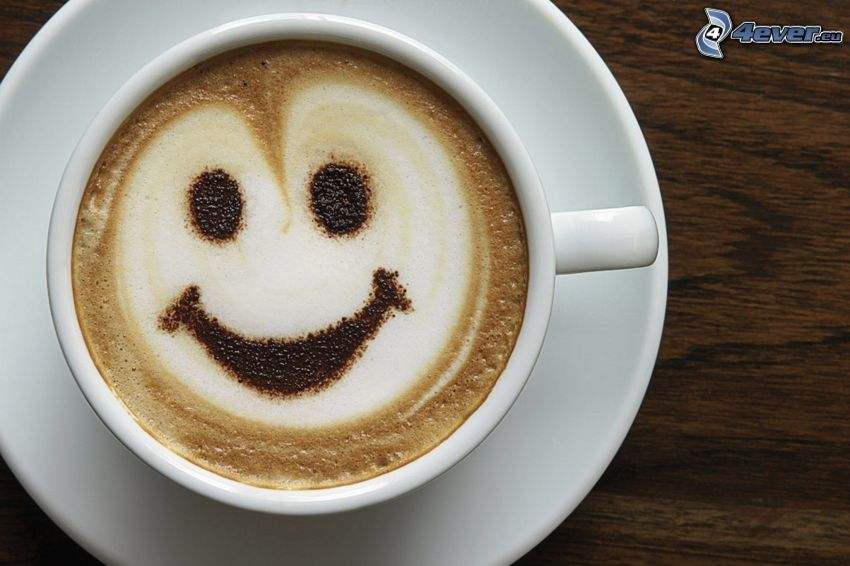 Tasse Kaffee, Smiley, latte art