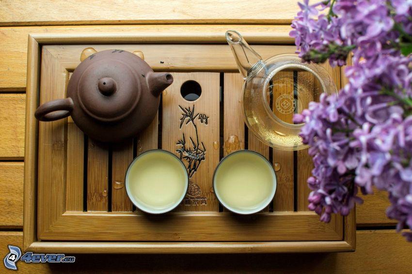 Teekanne, Tassen, Flieder