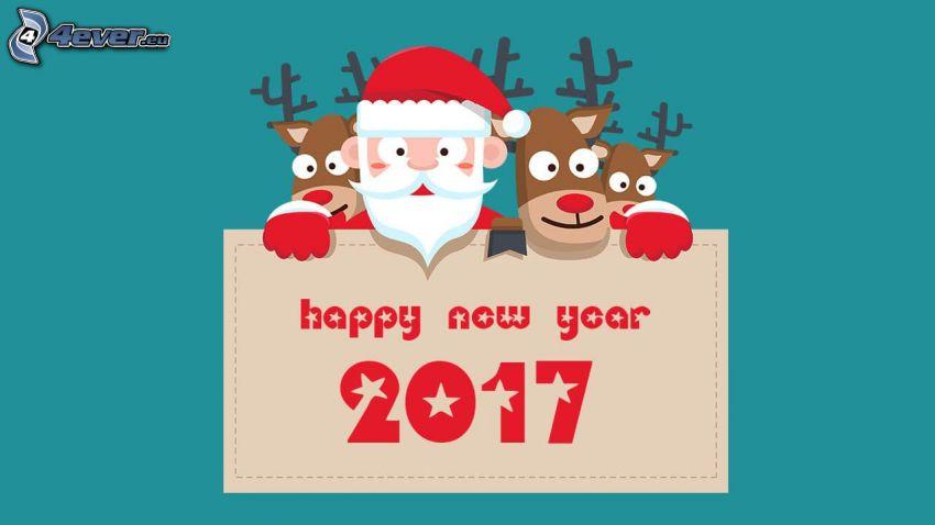 2017, glückliches Neues Jahr, happy new year, Santa Claus, Rentiere