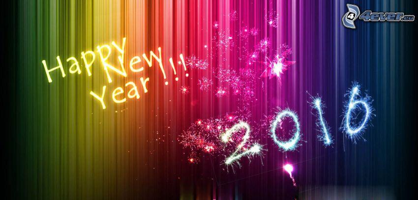 happy new year, 2016, farbiger Hintergrund