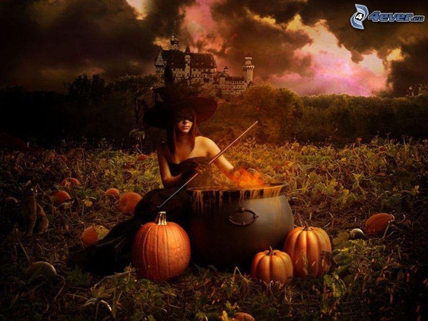Hexe, Halloween, Kürbise