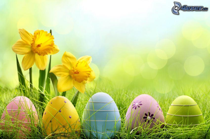 Bemalte Eier, Ostereier, Narzissen
