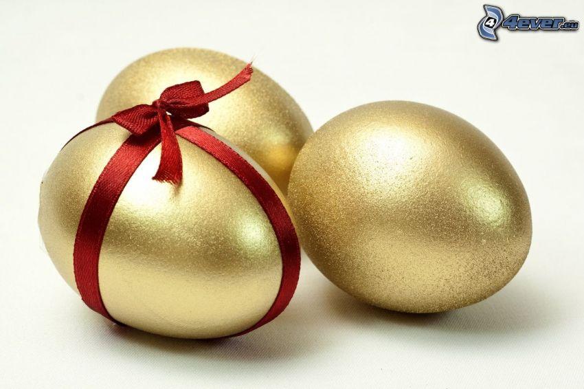 Ostereier, Gold, Haarschleife