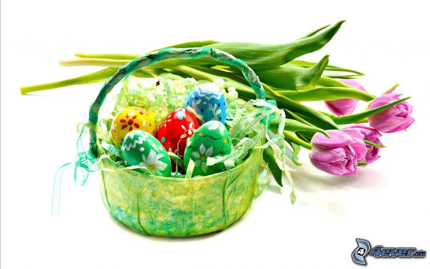 Ostereier, lila Tulpen